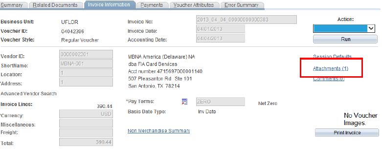 invoice information attachments