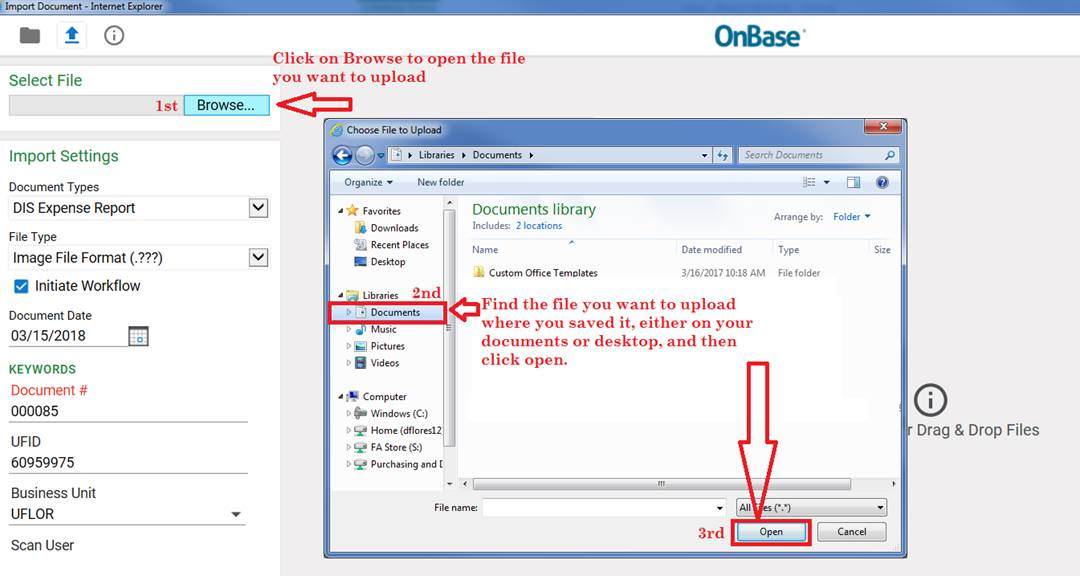 onbase view expense report upload steps
